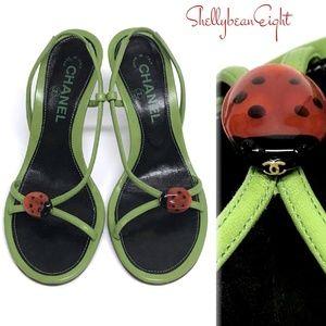 CHANEL Logo CC LADYBUG Sandals Heels 36.5 6 6.5